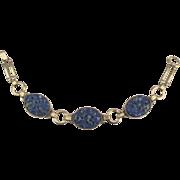 Beautiful Signed Vintage Gold Filled Carved Sodalite Bracelet
