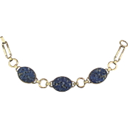 Beautiful Signed Vintage Gold Filled Carved Sodalite Bracelet