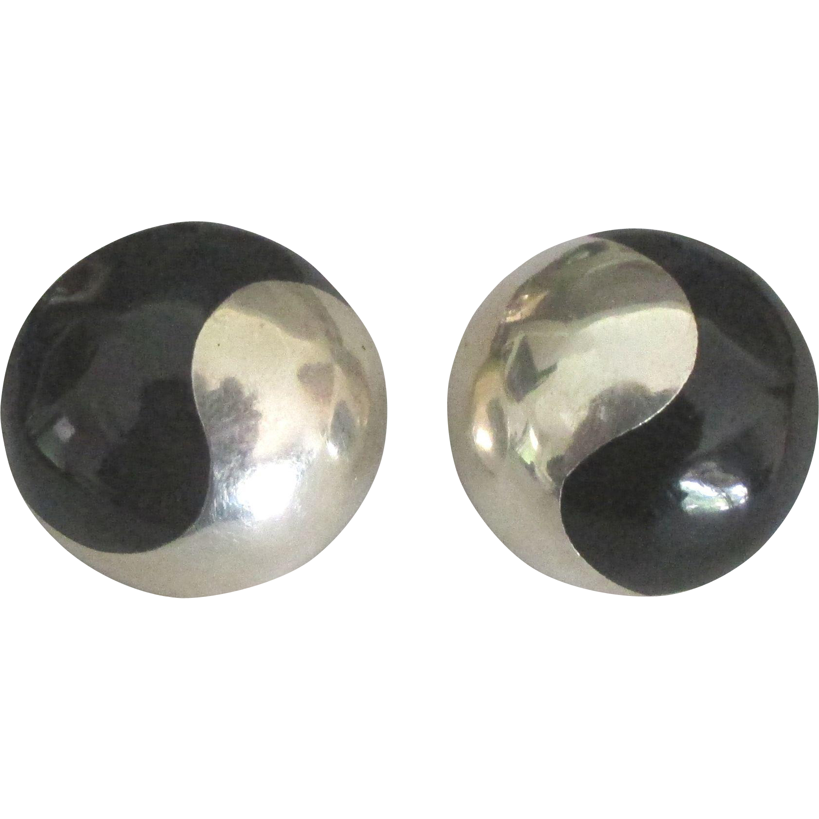 Gorgeous Taxco Sterling Onyx Ying and Yang Pierced Earrings