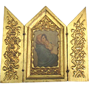 Vintage Italian Gold Gilt Triptych with Madonna and Child