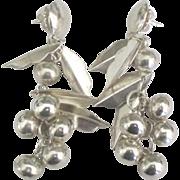 Charming Sterling Berries and Leaves Dangling Pierced Earrings