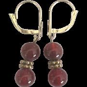 14K Carnelian Lever Back Pierced Earrings