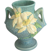 Vintage 1940's Roseville Blue Clematis Handled Vase - Red Tag Sale Item