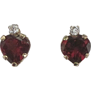 Sparking 14K Garnet and CZ Heart Pierced Earrings