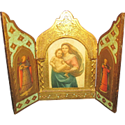 Large Vintage Italian Religious Triptych with St. Mary, Jesus and Angels