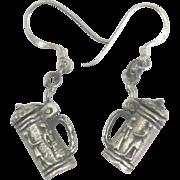 Charming Sterling Mechanical Beer Stein Pierced Earrings