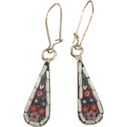 Lovely Vintage Italian Micro Mosaic Pierced Dangle Earrings