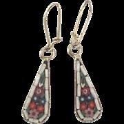 Lovely Vintage Italian Micro Mosaic Pierced Dangle Earrings