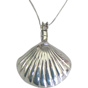 "Pretty Sterling Shell Perfume Bottle Pendant with Dauber and 18"" Chain"