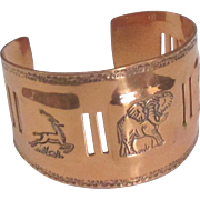 Wide Vintage Copper African Animals Cuff Bracelet