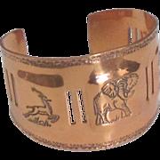 Wide Vintage Copper African Animals Cuff Bracelet