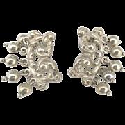 Vintage Ornate Cini Sterling Earrings with Bead Dangles