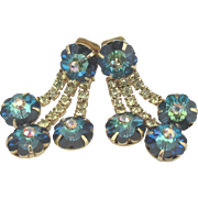 Vintage Sparkling Rivoli AB Dangle Rhinestone Earrings
