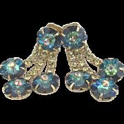 Vintage Sparkling Rivoli AB Dangle Rhinestone Earrings