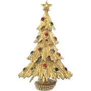 Vintage Monet Rhinestone Christmas Tree Brooch
