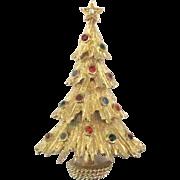 Vintage Monet Rhinestone Christmas Tree Brooch