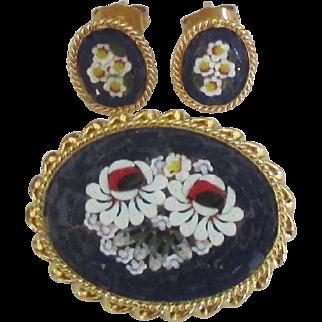 Vintage Italian Micro Mosaic Brooch and Pierced Earrings Demi Parure