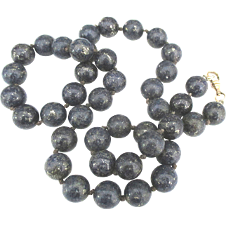 Vintage Gemstone Quality Lapis 12 MM Bead Necklace- 22 Inches