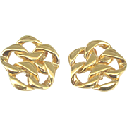 Stunning Bold Signed St. John Gold Tone Earrings