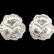 Large Sterling Pansy Flower Pierced Earrings