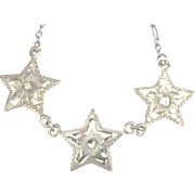 Vintage Sterling Triple Star Necklace