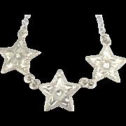 Vintage Sterling Triple Star Necklace