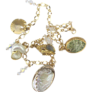 Lovely Gold Plated Sea Shell Necklace with AB Crystals