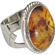 Bold Signed Sterling Baltic Amber Ring- 8 1/2
