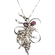 Beautiful Vintage Sterling Garnet Grape Clusters Pendant and Chain