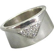 Stunning Vintage Sterling 7 Diamond Wide Band Ring- Size 6 1/2