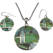 Exquisite Zuni Inlaid Abalone and Gaspeite Sterling Pendant and Pierced Earrings