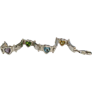 Lovely Sterling Gemstone Heart Bracelet
