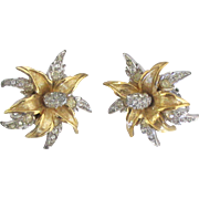 Sparkling Vintage Signed Boucher Rhinestone Pave Flower Earrings