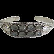 Stunning Estate Sterling Labradorite 8 Cabochon Cuff Bracelet