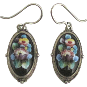 Lovely 1920's Hand Painted Porcelain Floral Pierced Earrings