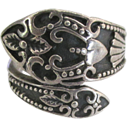 Vintage Ornate Sterling Wrap Ring- Size 6 1/2