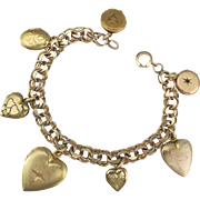 Romantic Vintage Gold Fill Heart Locket Charm Bracelet