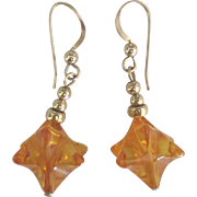 Vintage 14K Baltic Amber Dangle Pierced Earrings