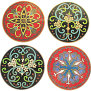 Vintage Chinese Enamel Cloisonne Coaster Set