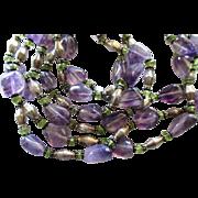 Fabulous Polished Amethyst and Peridot Triple Strand Necklace