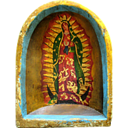 Vintage Hand Painted St. Mary in Grotto Mexican Folk Art