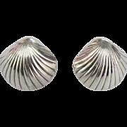 Chunky Sterling Sea Shell Pierced Earrings