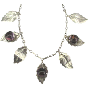 Vintage Dainty Sterling Leaves Amethyst Glass Cabochon Necklace