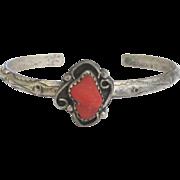 Vintage 1940's Navajo Sterling Coral Cuff Bracelet