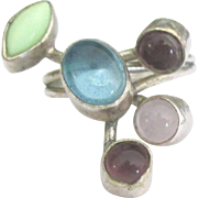 Lovely Multiple Gemstone Sterling Ring- Size 6