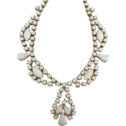 Gorgeous Vintage Empress Style Milk Glass Necklace
