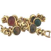 Vintage Carved Glass Scarab Bracelet