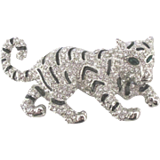 Vintage Rhinestone Green Eyed Tiger Brooch
