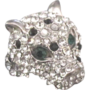 Sparkling Rhinestone Jungle Cat Head Ring