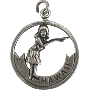Vintage Sterling State of Hawaii Charm with Hula Dancer